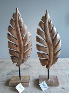 Zisensa, private collection Houten decoratieblad  mango hout op voet - M-