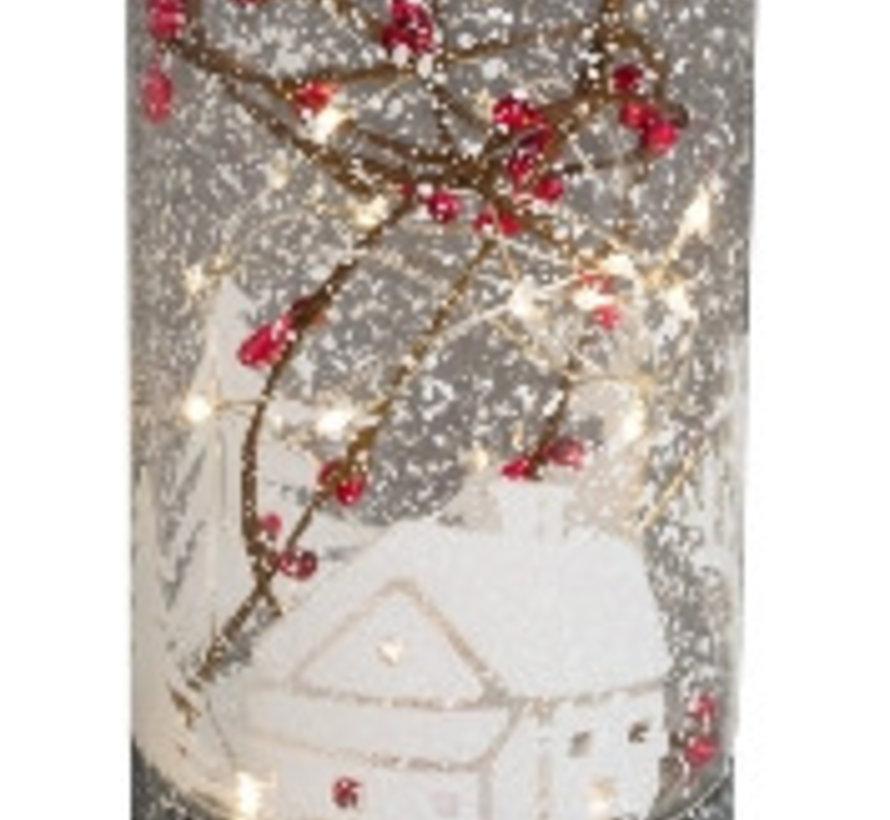 Glazen cyliner met kersttafereel en ledlicht
