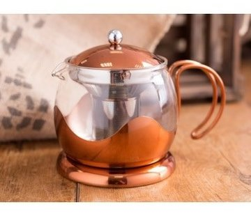 La Cafetiere; Cafetieres & Espressomakers Stijlvolle hittebestendige glazen theepot, koper met filter