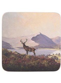Creative Tops; Engelse Kwaliteitsprodukten Onderzetter Hert in Schotslandschap set van 6 stuks