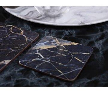 KitchenCraft; Engelse Kwaliteitsprodukten Onderzetter Blauw Marmer set van 6 stuks