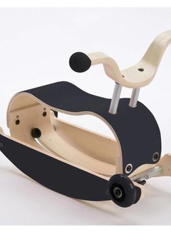 Wishbone; houten loopfietsen en schommelpaarden Mini FLIP Top ZWART + eigen samenstelling basis + wielen