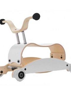 Wishbone; houten loopfietsen en schommelpaarden Mini FLIP Top WIT + eigen samenstelling basis + wielen