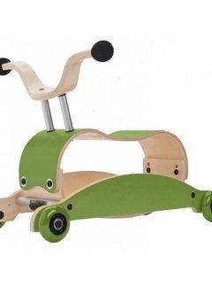 Wishbone; houten loopfietsen en schommelpaarden Mini FLIP Top GROEN + eigen samenstelling basis + wielen