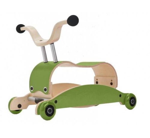 Wishbone; houten loopfietsen en schommelpaarden Wishbone Mini FLIP Top GROEN + eigen samenstelling basis + wielen