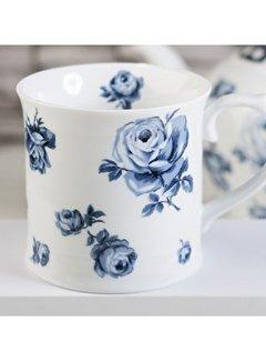 Katie Alice Vintage Indigo wit porseleinen mok met blauwe bloemen