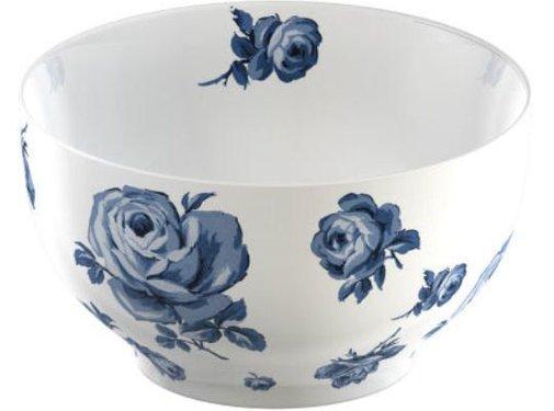 Katie Alice Vintage Indigo; Compleet Engels Servies Blauw Wit witte kom met bloemen