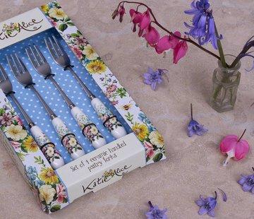 Katie Alice English Garden; Compleet Engels Porseleinen servies met bloemen set van 4 gebaksvorkjes