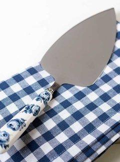Katie Alice Vintage Indigo; Compleet Engels Servies Blauw Wit taartschep met porseleinen handvat