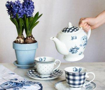 Katie Alice Vintage Indigo; Compleet Engels Servies Blauw Wit Katie Alice Vintage Indigo 6 Cup Teekanne