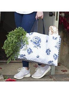 Katie Alice Vintage Indigo; Compleet Engels Servies Blauw Wit Katoenen tas