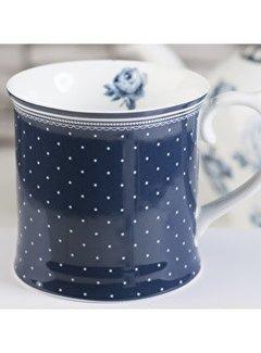 Katie Alice Vintage Indigo; Compleet Engels Servies Blauw Wit Blauwe mok met stippen