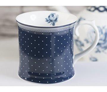 Katie Alice Vintage Indigo; Compleet Engels Servies Blauw Wit Katie Alice Vintage Indigo Spot Tankard Mug, Swing Tag