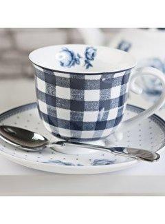Katie Alice Vintage Indigo Blauw geblokte kop en schotel