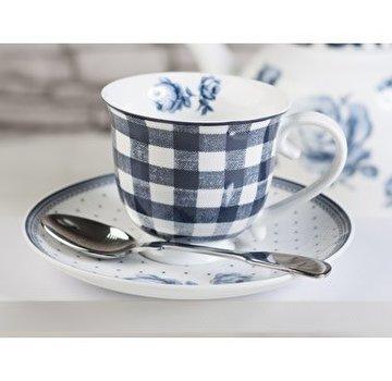 Katie Alice Vintage Indigo; Compleet Engels Servies Blauw Wit Katie Alice Vintage Indigo Gingham Cup and Saucer, Card Sleeve