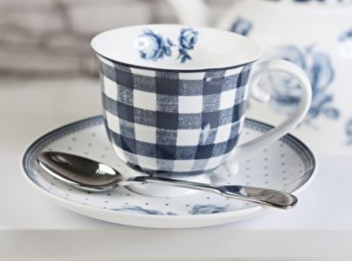 Katie Alice Vintage Indigo; Compleet Engels Servies Blauw Wit Katie Alice Vintage Indigo Gingham Cup and Saucer, Card Sleeve
