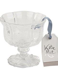 Katie Alice Vintage Indigo; Compleet Engels Servies Blauw Wit glazen ijscoupe