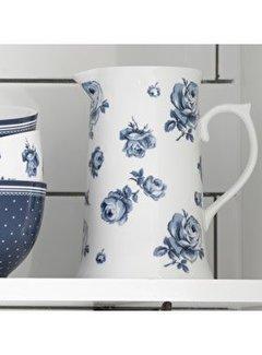 Katie Alice Vintage Indigo; Compleet Engels Servies Blauw Wit Grote gebloemde kruik, kan