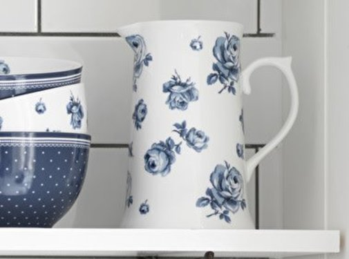 Katie Alice Vintage Indigo; Compleet Engels Servies Blauw Wit Katie Alice Vintage Indigo Large Floral Jug, Swing Tag
