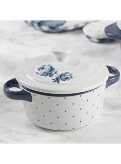 Katie Alice Vintage Indigo; Compleet Engels Servies Blauw Wit Mini ronde casserole ovenschaal