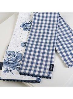 Katie Alice Vintage Indigo Set van 2 theedoeken, gebloemd en blauw wit