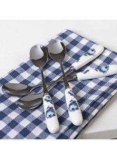 Katie Alice Vintage Indigo; Compleet Engels Servies Blauw Wit Set van 4 porseleinen theelepels, koffielepels
