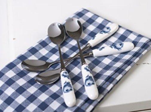Katie Alice Vintage Indigo; Compleet Engels Servies Blauw Wit Set van 4 porseleinen theelepels