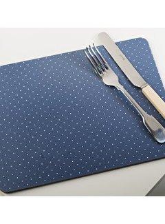 Katie Alice Vintage Indigo; Compleet Engels Servies Blauw Wit Set van 6 kleine Placemat dots blauw