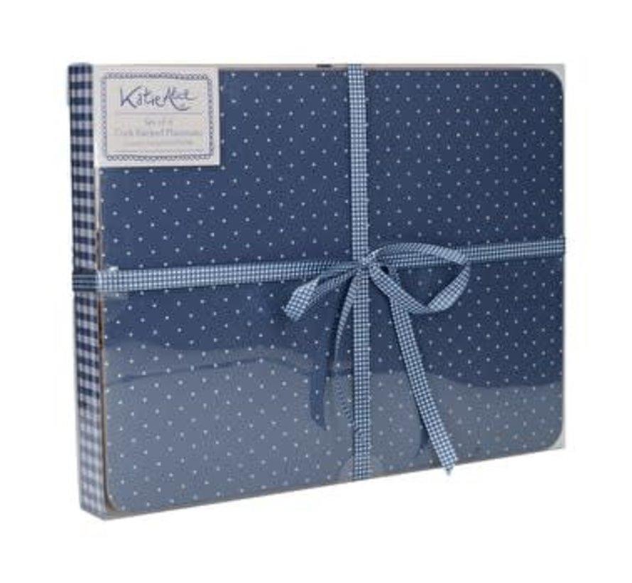 Katie Alice Vintage Indigo Pack Of 6 Premium Placemats, Acetate Box