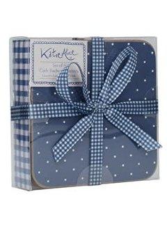 Katie Alice Vintage Indigo Set van 6 onderzetters blauw