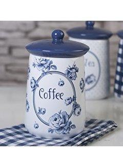 """Katie Alice Vintage Indigo; Compleet Engels Servies Blauw Wit voorraadpot """"Coffee"""" koffie"""