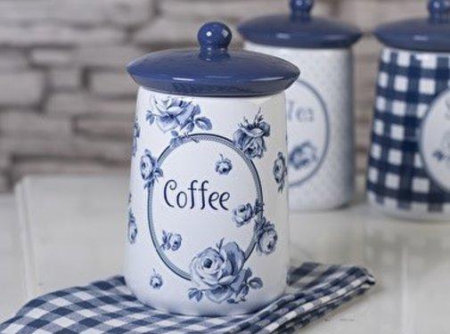 """Katie Alice Vintage Indigo; Compleet Engels Servies Blauw Wit Copy of Katie Alice Vintage Indigo voorraadpot """"Coffee"""""""