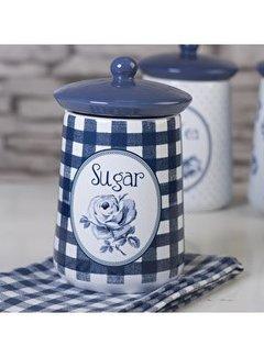 """Katie Alice Vintage Indigo; Compleet Engels Servies Blauw Wit Voorraadpot """"Sugar"""" Suiker"""