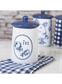 """Katie Alice Vintage Indigo; Compleet Engels Servies Blauw Wit Voorraadpot """"Tea"""" Thee"""