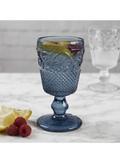 Katie Alice Vintage Indigo; Compleet Engels Servies Blauw Wit Wijnglas, waterglas blauw
