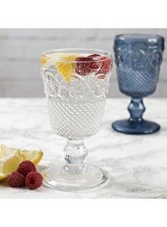 Katie Alice Vintage Indigo; Compleet Engels Servies Blauw Wit Wijnglas, waterglas helder