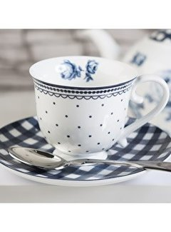 Katie Alice Vintage Indigo; Compleet Engels Servies Blauw Wit Katie Alice Vintage Indigo Spot Cup and Saucer, Card Sleeve