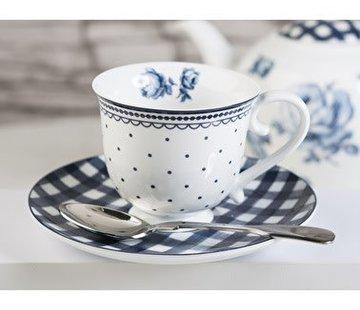 Katie Alice Vintage Indigo; Compleet Engels Servies Blauw Wit Katie Alice Vintage Indigo Spot Cup and Saucer, Card Sleeve