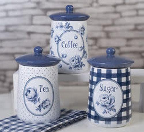 Katie Alice Vintage Indigo; Compleet Engels Servies Blauw Wit Set van 3 voorraadpotten, koffie-thee-suiker