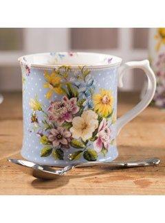 Katie Alice English Garden; Compleet Engels Porseleinen servies met bloemen Porseleinen gebloemen mok blauw