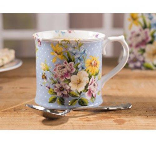 Katie Alice English Garden; Compleet Engels Porseleinen servies met bloemen Porseleinen bloemen mok blauw