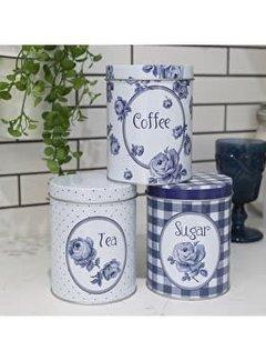 Katie Alice Vintage Indigo; Compleet Engels Servies Blauw Wit Katie Alice Vintage Indigo Set van 3 voorraadblikken