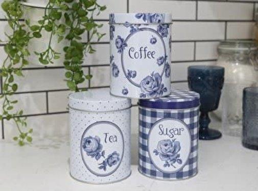 Katie Alice Vintage Indigo; Compleet Engels Servies Blauw Wit Copy of Set van 2 gedecoreerde blikken