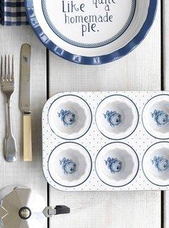 Katie Alice Vintage Indigo; Compleet Engels Servies Blauw Wit Muffin bakvorm