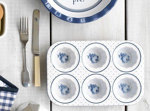 Katie Alice Vintage Indigo; Compleet Engels Servies Blauw Wit Katie Alice Vintage Indigo Muffin Tray, Labelled