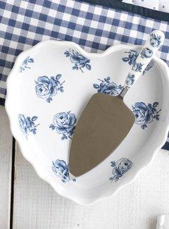 Katie Alice Vintage Indigo; Compleet Engels Servies Blauw Wit Katie Alice Vintage Indigo Heart Dish, Labelled