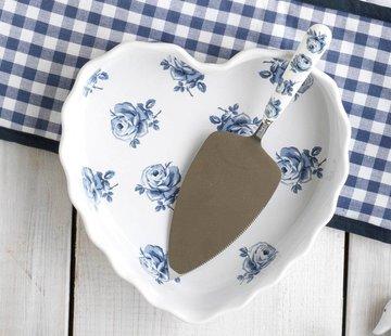 Katie Alice Vintage Indigo; Compleet Engels Servies Blauw Wit Hartvormige ovenschaal