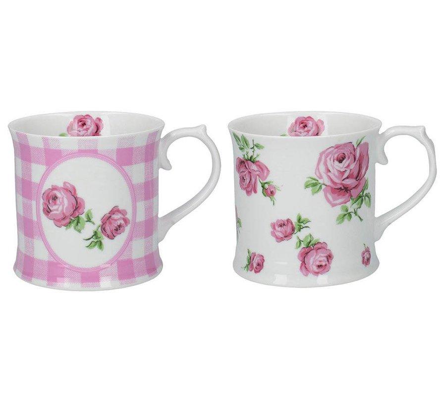 Set van 2 roze mokken