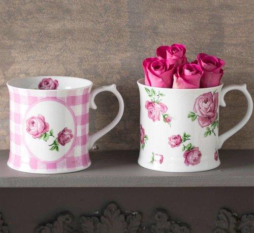 Katie Alice Vintage Indigo; Compleet Engels Servies Blauw Wit Set van 2 roze mokken