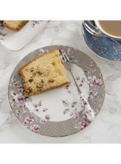 Katie Alice Ditsy Floral; Engels Servies met bloemen porseleinen bordje grijs gebloemd